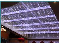 cortina lampara de agua al por mayor-Venta caliente Corriendo hacia abajo cascada 6M x 1.5 M 300 LED Cadena Luces de hadas Cortina Luces de Navidad 110V-220V AU Reino Unido UE EE. UU. EE. UU. EE. UU.