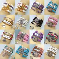 Wholesale Owls Infinity Bracelet - Wholesale-2015 Women Multilayer Braided Bracelets Vintage Owl Turtle Heart Love Infinity Bracelet Multicolor Woven Leather Bracelet