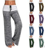 Wholesale Legging Pant Navy Women - 2017 new Women Yoga Pants Casual High Waist Solid Wide Leg Long Pants Palazzo Trousers loose Sweatpants 9 colors