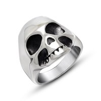 Wholesale Jewelry 12 Titanium - Hot Sale New Brand Domineering Punk Style Stainless Casting Skull Ring Jewelry Size 7 8 9 10 11 12 Mix Size