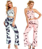 Wholesale Womens Sexy Pants Suits - Wholesale-Womens Two Piece Pant Suits Fashion printing sexy Halter Off Shoulder Crop Tops +Flare Pants ladies Bodycon Bell Bottoms Jumpsuit