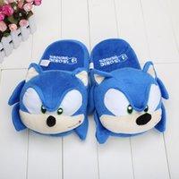 Wholesale Slipper Stuffed - Wholesale-11 inch Blue Sonic Hedgehog Plush Toys Slippers Indoor Slipper Stuffed Plush Toy Doll