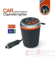 Wholesale Cigarette Lighter Bluetooth - Cup Handsfree FM Transmitter Bluetooth Aux Car Kit TF Micro SD MP3 Player Dual Cigarette Lighter Car Charger Styling Parts