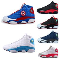 Wholesale Captain Games - 2018 high quality Basketball re-old 13 XIII mans Shoes Bred Navy Game hologram grey toe Grey Athletics Sport Sneaker Boots US captain