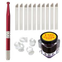 Wholesale Tattoo Eyebrows Beginner Kit - Semi-Permanent Eyebrow Makeup Tattoo Kits Set Microblading Manual Tattoo Pens + 18 Pins Needles + Ring Ink Cup + Tattoo-Ink