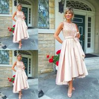 Wholesale Mother Asymmetrical Dress - 2017 mother of the bride dresses tea length High Low Sleeveless Bateau Neck Mother's Dresses with Bow Sash Wedding Guest Dress Beads Sequins