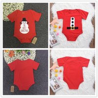 Wholesale Top Baby Girls Christmas Gifts - Mikrdoo Baby Infants Halloween Rompers Red My First Christmas Gift Button Belt Cotton Clothes Outfit Kids Boy Girl Romper Funny Top Jumpsuit