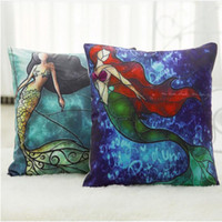 Wholesale Pillow Fillers - 45*45cm Cartton Colorful Mermaid Printed Square Cotton Linen Pillow Case Cushion Cover For Sofa Home Car Decor Pillow Without Filler