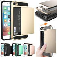 ingrosso armor wallet-Custodia antiurto per iPad Armor TPU PC Custodia a portafoglio scorrevole Custodia a tasca per iPhone X 5 6 6S 7 8 Plus Samsung S6 S7 Edge S8 S9 Plus Nota Nota8