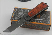 Wholesale Browning M1911 - DHL free Browning M1911 Survival Folding Knife for camping hunting cheap CR14MOV Steel blade Quick open knife 1pcs freeshipping