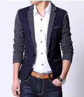 Wholesale Stripes Small Jackets - Men in Europe and the leisure business English new fashion boutique personality retro stripe small jackets   M-2XL