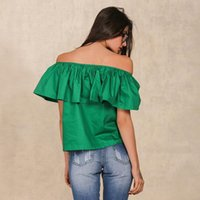 Wholesale Green Tube Top - Apparel Sexy slash neck ruffles women tops tees Off shoulder beach summer style tops Women blouses shirt party tube top