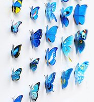 Wholesale Curtain Sets Living Room - 12Pcs set Household 3D Butterfly Wall Stickers Home Decorative Refrigerator Decor Wallpaper Decals for Curtain