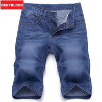Wholesale Jeans Breeches - Wholesale- Summer Casual Navy Blue Men Denim Breeches Shorts Bermudas Jeans Masculina Homme Male Short Jeans Men Shorts Men Trousers BY6696