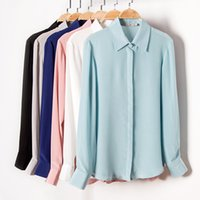 Wholesale Ladies Long Sleeve Silk Blouses - Women's solid color silk blouse with double pockets lady shirt 6 colors