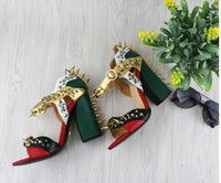Wholesale Sexy Floral Heels - metal buckle rivet thick with high-heeled shoes fashion sexy toe sandals women gladiator sandals mujers summer sandals rivet chunky heels