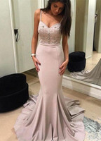 Wholesale Cheap Spaghetti Strap Tops - 2017 New Straps Sweetheart Mermaid Prom Dresses 2017 Lace Beaded Top Long Sweep Train Evening Gowns Cheap Formal Party Wear