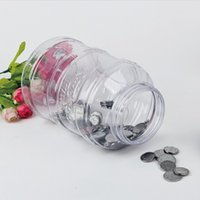 Wholesale money counts - New Arrival Counting Piggy Bank Bucket Shape Plastic Smart Money Box Electronic USD Coin Counter Saving Boxes Popular 15 5cx BW