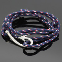 Wholesale Sailor Bracelets Wholesale - Wholesale-Fashion Nautical Rope Bracelet Men's Anchor Bracelets Friend Nautical Anchor Sailor Fish Hook Rope Bracelet for Men Marin YG022