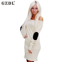 Wholesale Casual Off One Shoulder Dresses - GZDL Women Autumn Winter Dresses Long Sleeve Slash Neck Off Shoulder Bodycon Sheath Sexy Party Short Mini Dress Vestidos CL2252