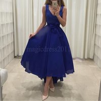 Wholesale Cocktail Dress Bow Chiffon - Elegant Royal Blue Party Homecoming Bridesmaid Dresses 2016 A-Line Deep V-Neck Hi-Lo Chiffon Ruffled Pleated Cocktail Prom Celebrity Gowns