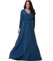 Wholesale Dress Evening Code - 2016 autumn and winter new dress high quality women's large code V collar long sleeved irregular atmosphere evening dress
