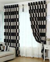 fenstervorhänge für wohnzimmer großhandel-Europäischer kurzer Muster-Plaid Blackout / bloßer Fenster-Vorhang für Wohnzimmer / Küche / Hotelfensterbehandlung / Vorhänge