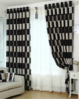 Wholesale plaid living room - European Brief Pattern Plaid Blackout Sheer Window Curtain For living Room Kitchen  Hotel Window Treatment Drapes