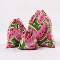 Wholesale Linen Tote Bags Wholesale - Fashion Mini Jute Bags Watermelon Fruit Printing Tea Gift Drawstring Sacks Shopping Canvas Totes 2017 New Arrival Free Shipping