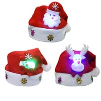Wholesale Lighted Led Santa Hat - Non Woven Kids Christmas Hat With Led Light Cartoon Applique Santa Deer Snow Pattern Hats Christmas Holiday Supplies ELCD028