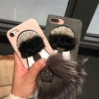 Coquille Coque Iphone Diamant Pas Cher-Bling Brillant Diamant Strass En Peluche Furry téléphone shell Cas pour iphone6 ​​6 s 6 plus Dur Couverture Arrière pour iphone 7 7 plus