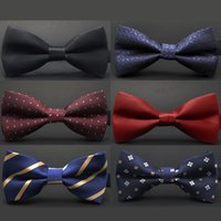 Wholesale Tuxedo Plaid Bow Tie - New fashion tuxedo bow tie men red and black tartan groom marry groomsmen wedding party colorful striped butterfly cravats mens