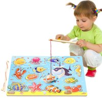 Wholesale Wooden Fishing Game - 14Pcs Wooden Magnetic Fishing Toy 3d Puzzles Fish Game Fishing Toy Baby Educational Toys For Children Birthday Christmas Gift