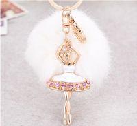 bale bluz çantaları toptan satış-Yeni moda bale kız alaşım anahtarlık chuzzle kolye kızın çantası süsleri 4 renk seçin alaşım anahtarlıklar