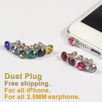 Wholesale Headset Jack Bling - 100 Pcs lot Shinning Anti Dust Plug For all 3.5MM Headset earphone mobile phone Bling Diamond dustproof iphone accessories