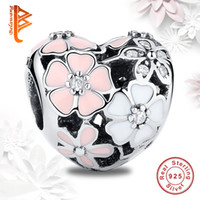 Wholesale Flower Enamel Bracelets - BELAWANG Wholesale 925 Sterling Silver Charms Poetic Blooms Enamel CZ European Charm Beads Fit Snake Chain Bracelet DIY Original Jewelry