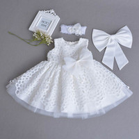 Wholesale Baby Party First - Retail Baby Girl Christening Gown Lace White Sleeveless First Birthday Day Party Dress Headband Kids Clothing 0-2Y 70106