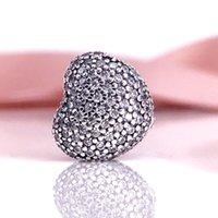 Wholesale Silver 925 Clip - Classics Design Wholesale Authentic 925 Sterling Silver Pave Open My Heart Charm Clip Fits For DIY Pandora Style Jewelry Bracelets 791427CZ