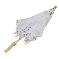 Wholesale Vintage Sun Parasols - Wholesale- 1X Vintage White Cotton Handmade Parasol Lace Sun Umbrella Party Wedding Bridal