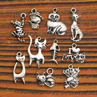 Vente en gros-10pc Mixed Tibetan Silver Plated Animals Fish Bone Love My Cat Charms Pendentifs Jewelry Making Diy Handmade Crafts
