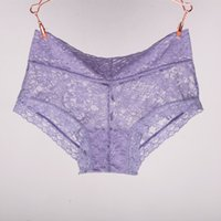 Wholesale Transparent Sexy Woman Boxers - Sexy Women Boxer Shorts Lace Panties Transparent Boyshort Brand Underpants Female Knickers Full Lace Boxers Underwear New