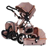 Wholesale travel children baby - Hot sell European Baby Stroller 3 in 1,Baby Push chair High Landscape Fold Strollers for Children Travel System,Prams for Newborns