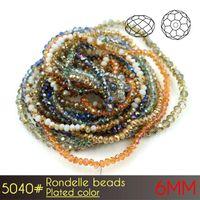 ingrosso porcellana perline perline-Cina fai da te perline di vetro di cristallo di Cutted Faces Rondelle Beads 6mm placcato colori A5040 100 pz / set