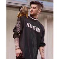 Wholesale Black Mesh Shirts - Fear Of God T Shirt 2017 New Justin Bieber Summer Autumn Mesh Long Sleeves FOG T-shirts Men Women Fear Of God Sportswear T-Shirt