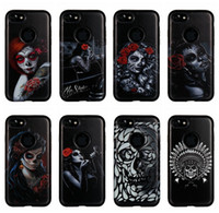 Sexy Lady Girl Skull Flower Hard Plastic + Soft TPU Housse hybride pour Iphone 7 Plus 6 6S 6Plus Silicone Rose Gel Black Cell Phone Skin Cover