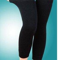 Wholesale Leg Shaper Leggings - Wholesale- Women Long Elasticated Kneepad Knee Guard Pads Body Shaper Outdoor Cashmere Knee Leg Warmer Keep Warm Leggings Support Protector