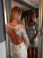 Wholesale Sheath Long Sleeve Homecoming Dresses - Luxury Beaded Crystal Long Sleeve Short Homecoming Dresses 2017 Sheer Scoop Neck Champagne Tulle Backless Sheath Prom Party Gowns