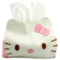Wholesale Korean Car Cover - Wholesale- Cute PU Leather Hello Kitty Tissue Holder Household Car Application Removable Tissue Box Cover Container Napkin Paper Towel Box