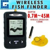 Wholesale Matrix Fish Finder Sonar - FFW-718BLK Digital Wireless Dot Matrix Sonar Sensor River Lake Sea Contour C F Fishfinder Fish Finder 45m (Black color)