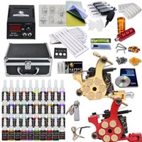 Wholesale Tattoo Carry Cases - Best Selling 2 Gun Tattoo Kit 40 color inks power supply needles tube tip carry case 10-24GD-10